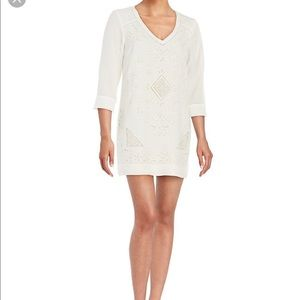 FCUK NWT white embroidered shift dress